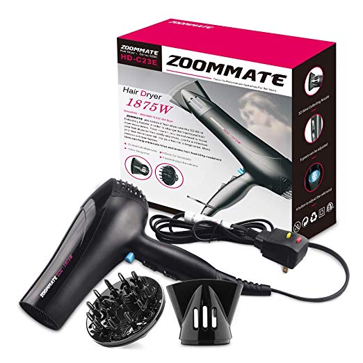 Professional Hair Dryer ZOOMMATE 1875W DC Motor Negative Ions Blow Dryer